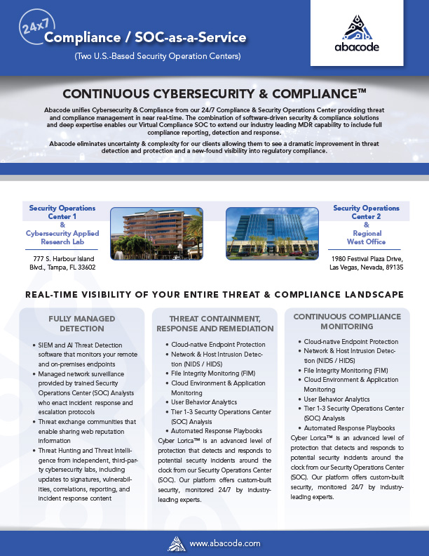 Abacode Compliance Security Operations Center (CSOC)